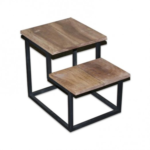 Wood and metal 2 side table