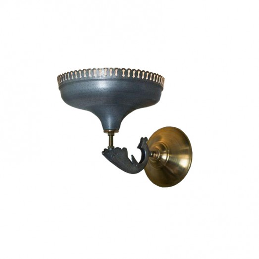 Serrated Metal and Brass Wall Lamp